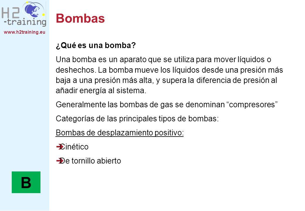 www.h2training.eu Bombas ¿Qué es una bomba? Una bomba es un aparato que se utiliza para mover líquidos o deshechos. La bomba mueve los líquidos desde