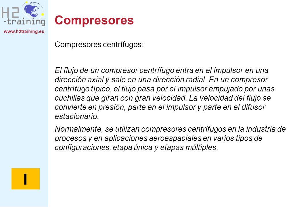 www.h2training.eu Compresores Compresores centrífugos: El flujo de un compresor centrífugo entra en el impulsor en una dirección axial y sale en una d