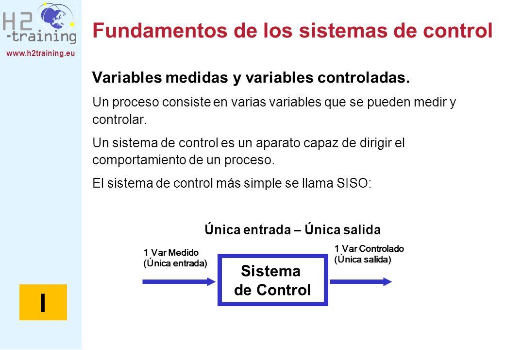 www.h2training.eu Fundamentos de los sistemas de control Variables medidas y variables controladas. Un proceso consiste en varias variables que se pue