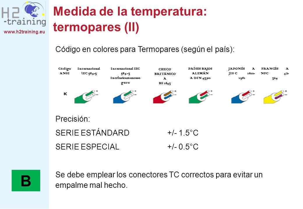 www.h2training.eu Medida de la temperatura: termómetro de resistencia Los termómetros de resistencia son cables metálicos, cuya resistencia eléctrica varía según la temperatura: R = R 0 (1+aT) Normalmente, se emplea cables de platino; Pt100 es el acrónimo de la resistencia de la tempuratura más común.