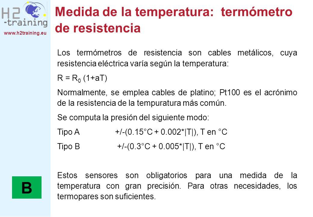 www.h2training.eu Medida de la temperatura: termómetro de resistencia Los termómetros de resistencia son cables metálicos, cuya resistencia eléctrica