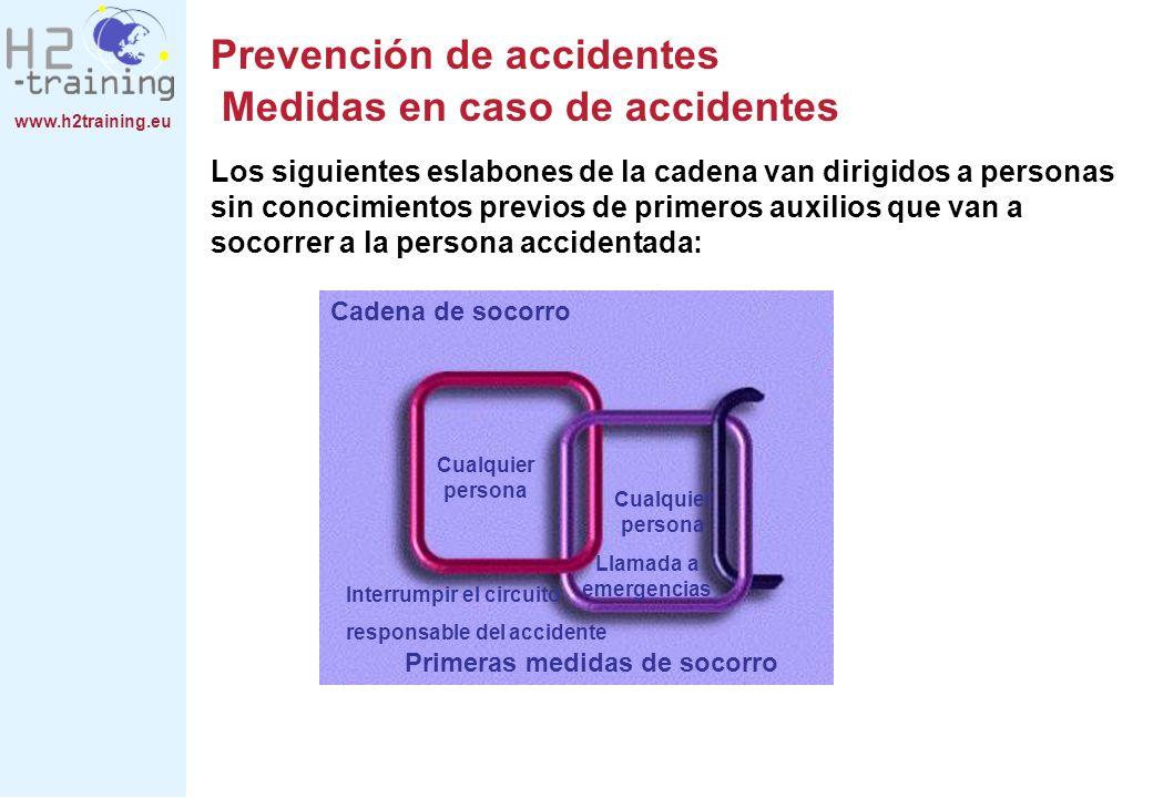 www.h2training.eu Prevención de accidentes Medidas en caso de accidentes Los siguientes eslabones de la cadena van dirigidos a personas sin conocimien