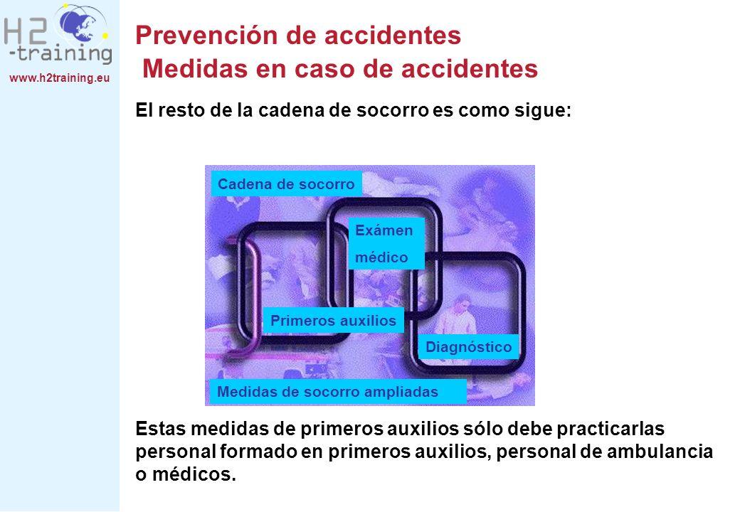 www.h2training.eu Prevención de accidentes Medidas en caso de accidentes El resto de la cadena de socorro es como sigue: Estas medidas de primeros aux