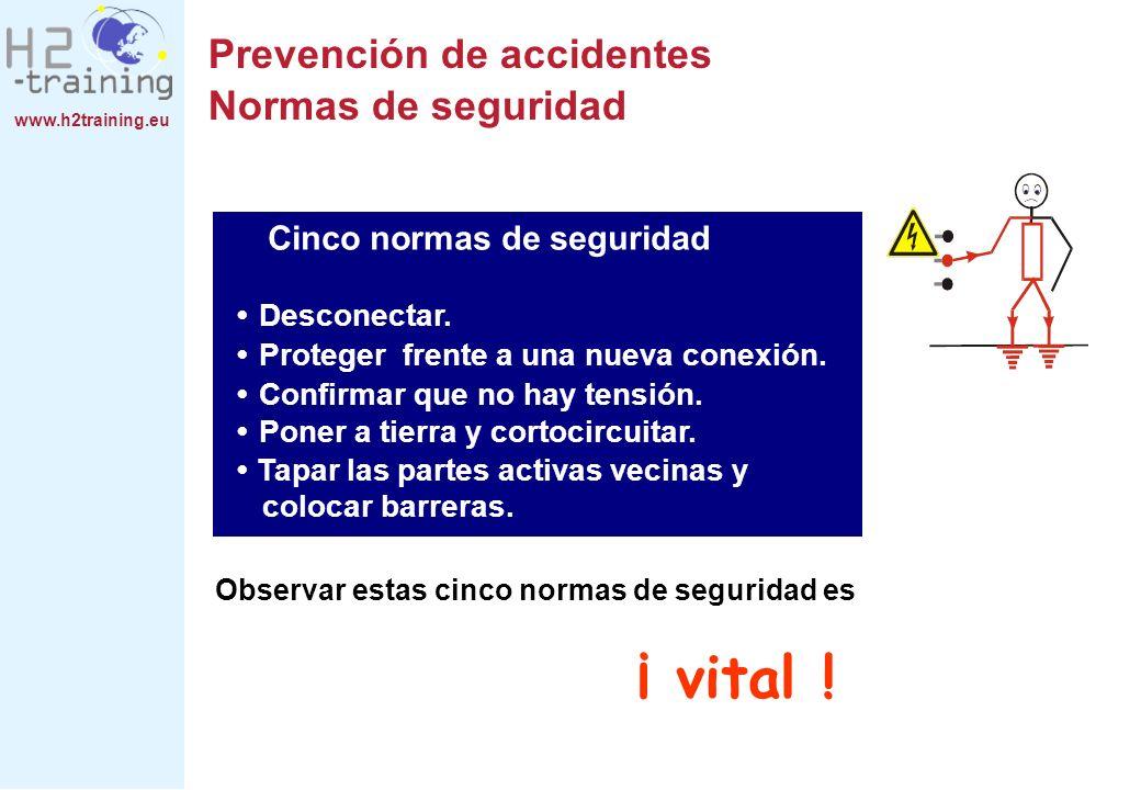 www.h2training.eu Observar estas cinco normas de seguridad es ¡ vital ! Cinco normas de seguridad Desconectar. Tapar las partes activas vecinas y colo