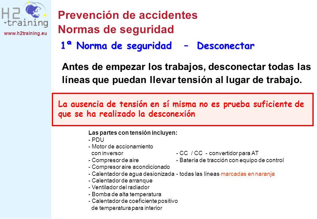 www.h2training.eu Prevención de accidentes Normas de seguridad Antes de empezar los trabajos, desconectar todas las líneas que puedan llevar tensión a