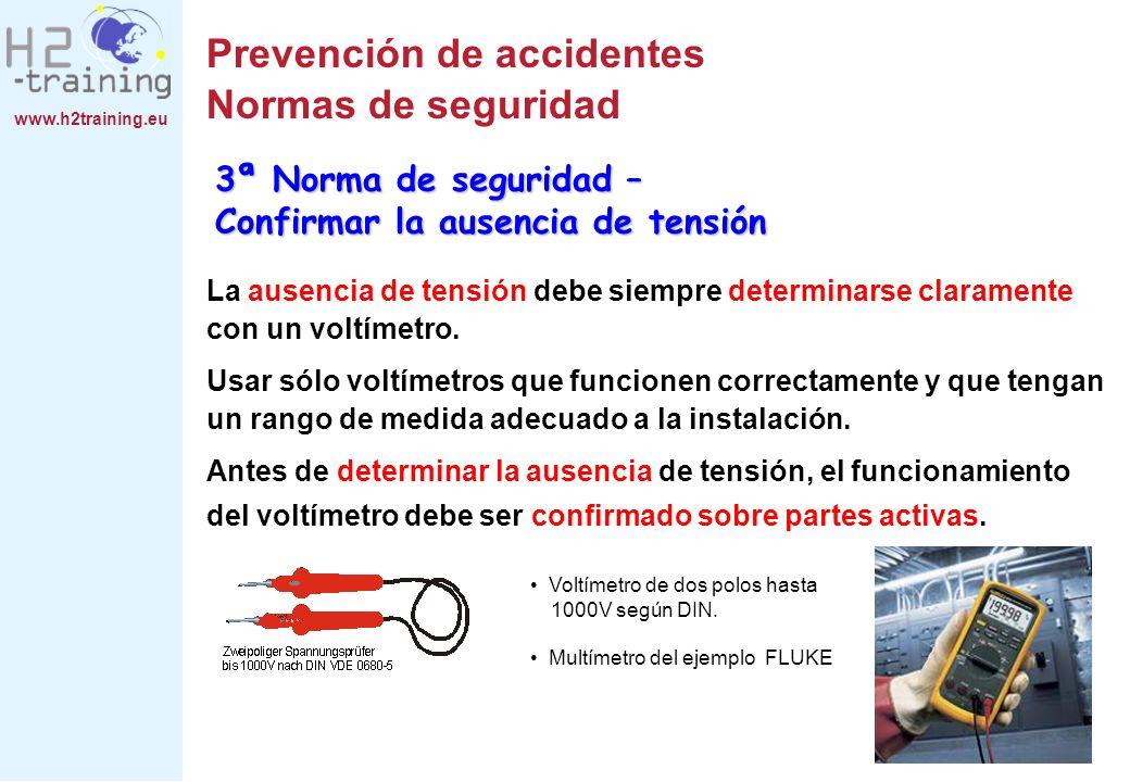 www.h2training.eu Prevención de accidentes Normas de seguridad La ausencia de tensión debe siempre determinarse claramente con un voltímetro. Usar sól