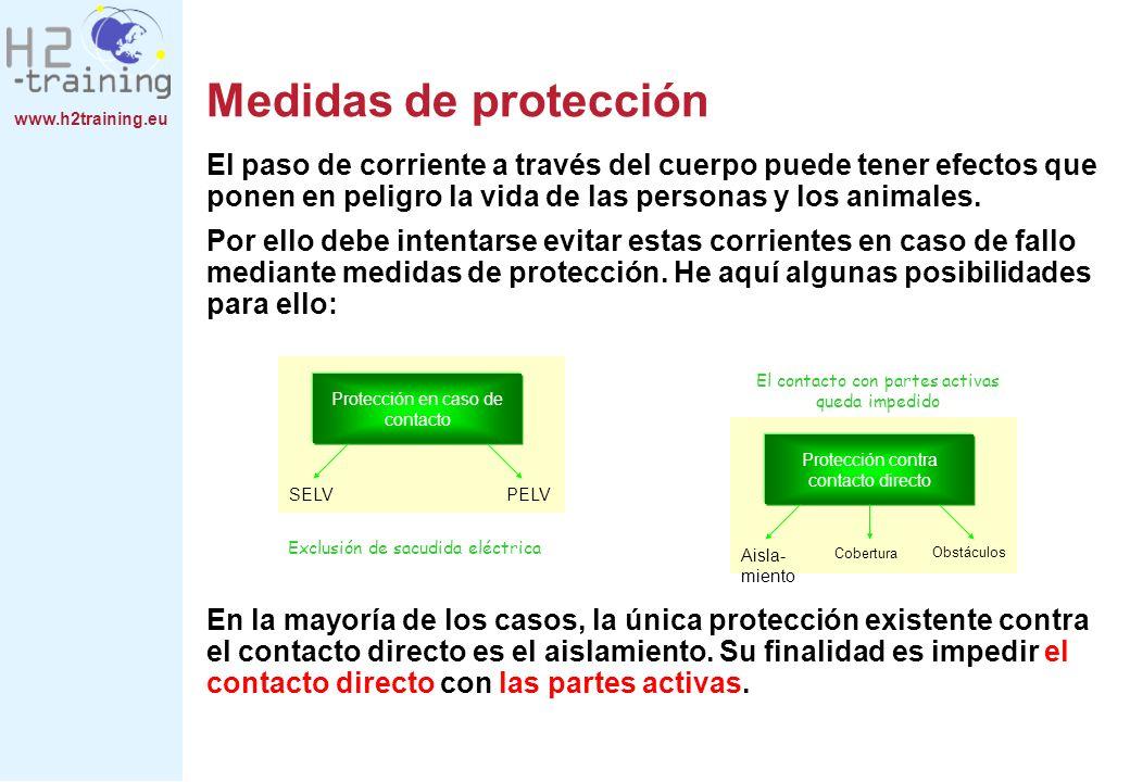 www.h2training.eu Medidas de protección El paso de corriente a través del cuerpo puede tener efectos que ponen en peligro la vida de las personas y lo