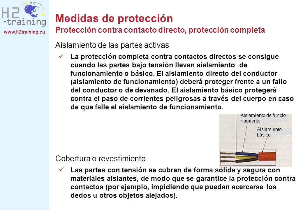 www.h2training.eu Aislamiento de las partes activas La protección completa contra contactos directos se consigue cuando las partes bajo tensión llevan