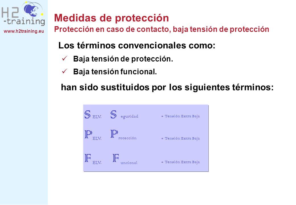www.h2training.eu Medidas de protección Protección en caso de contacto, baja tensión de protección Los términos convencionales como: Baja tensión de p