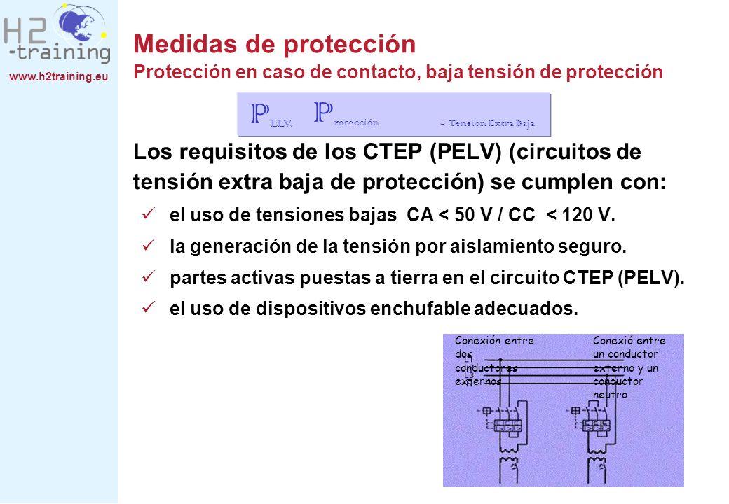 www.h2training.eu Los requisitos de los CTEP (PELV) (circuitos de tensión extra baja de protección) se cumplen con: el uso de tensiones bajas CA < 50