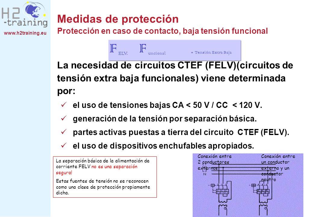 www.h2training.eu La necesidad de circuitos CTEF (FELV)(circuitos de tensión extra baja funcionales) viene determinada por: el uso de tensiones bajas