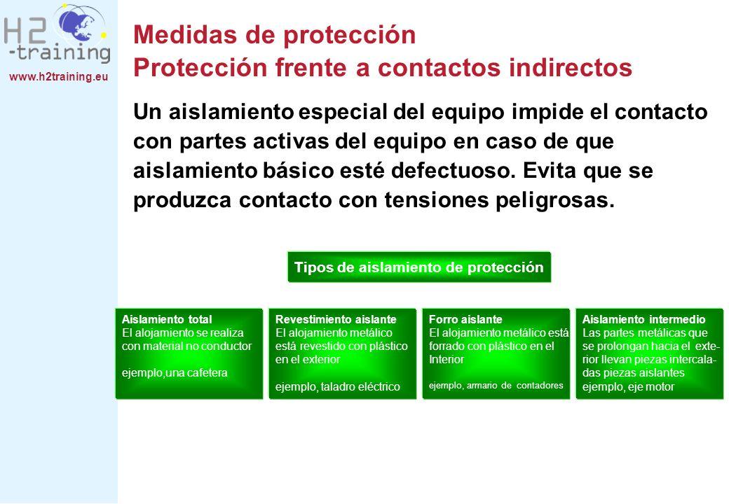 www.h2training.eu Medidas de protección Protección frente a contactos indirectos Un aislamiento especial del equipo impide el contacto con partes acti