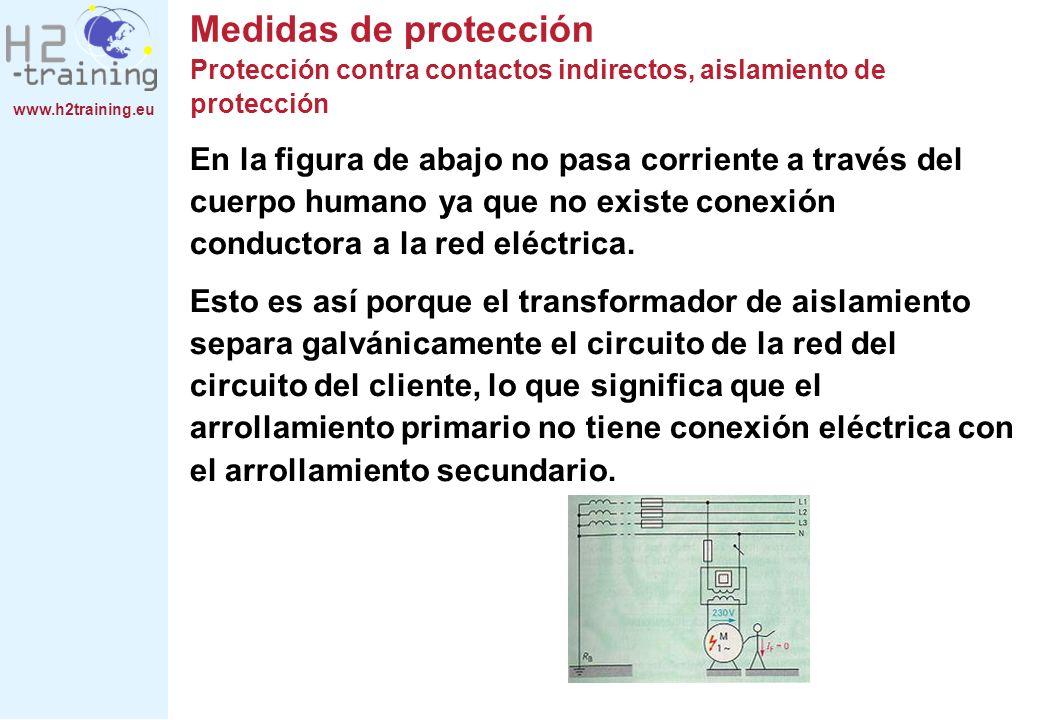 www.h2training.eu Medidas de protección Protección contra contactos indirectos, aislamiento de protección En la figura de abajo no pasa corriente a tr