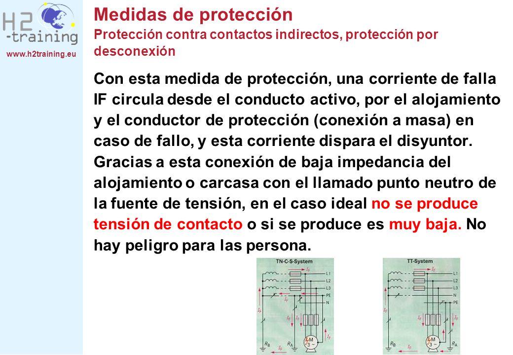 www.h2training.eu Con esta medida de protección, una corriente de falla IF circula desde el conducto activo, por el alojamiento y el conductor de prot