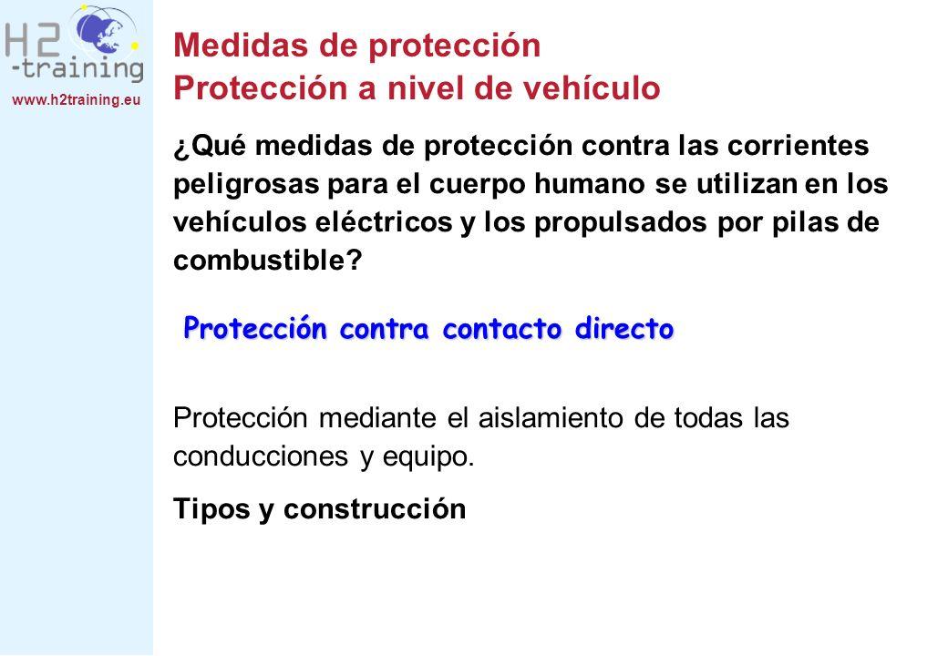 www.h2training.eu Medidas de protección Protección a nivel de vehículo ¿Qué medidas de protección contra las corrientes peligrosas para el cuerpo huma