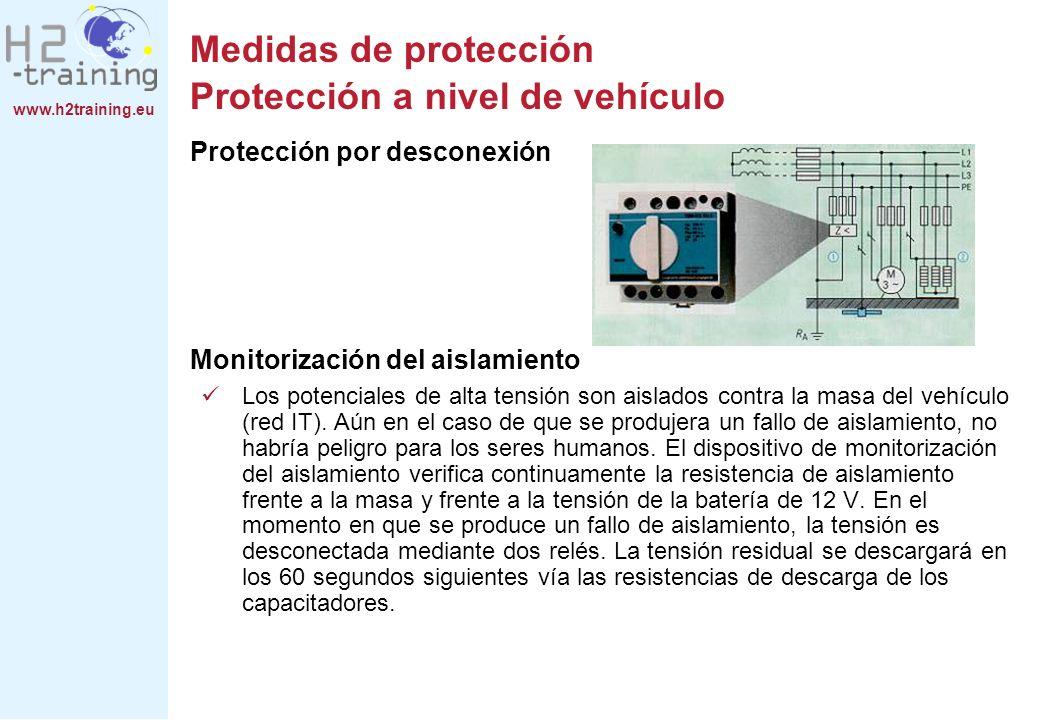 www.h2training.eu Protección por desconexión Monitorización del aislamiento Los potenciales de alta tensión son aislados contra la masa del vehículo (