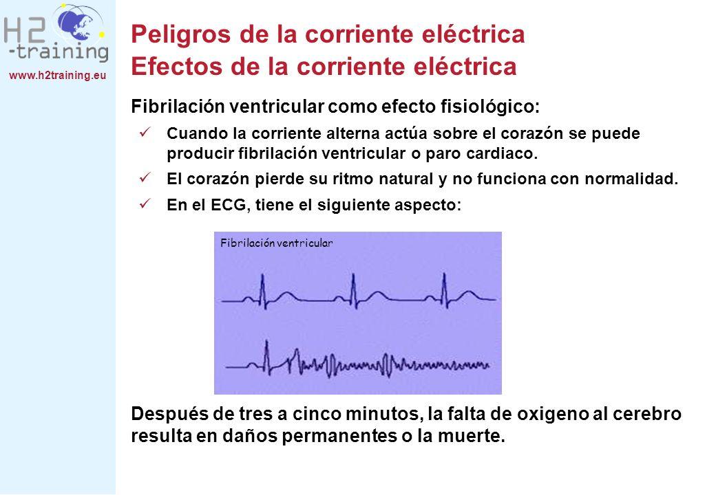 www.h2training.eu Fibrilación ventricular como efecto fisiológico: Cuando la corriente alterna actúa sobre el corazón se puede producir fibrilación ve