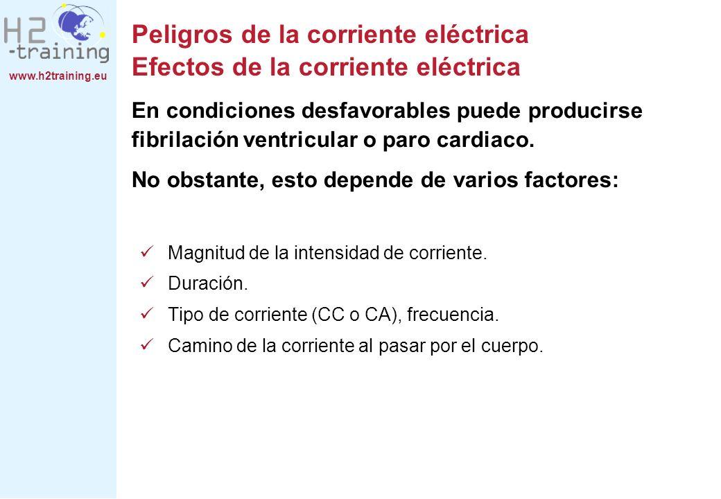 www.h2training.eu Medidas de protección Protección contra contactos indirectos, aislamiento de protección En la figura de abajo no pasa corriente a través del cuerpo humano ya que no existe conexión conductora a la red eléctrica.