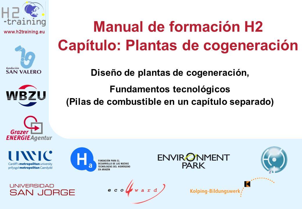 www.h2training.eu Manual de formación H2 Capítulo: Plantas de cogeneración Diseño de plantas de cogeneración, Fundamentos tecnológicos (Pilas de combu
