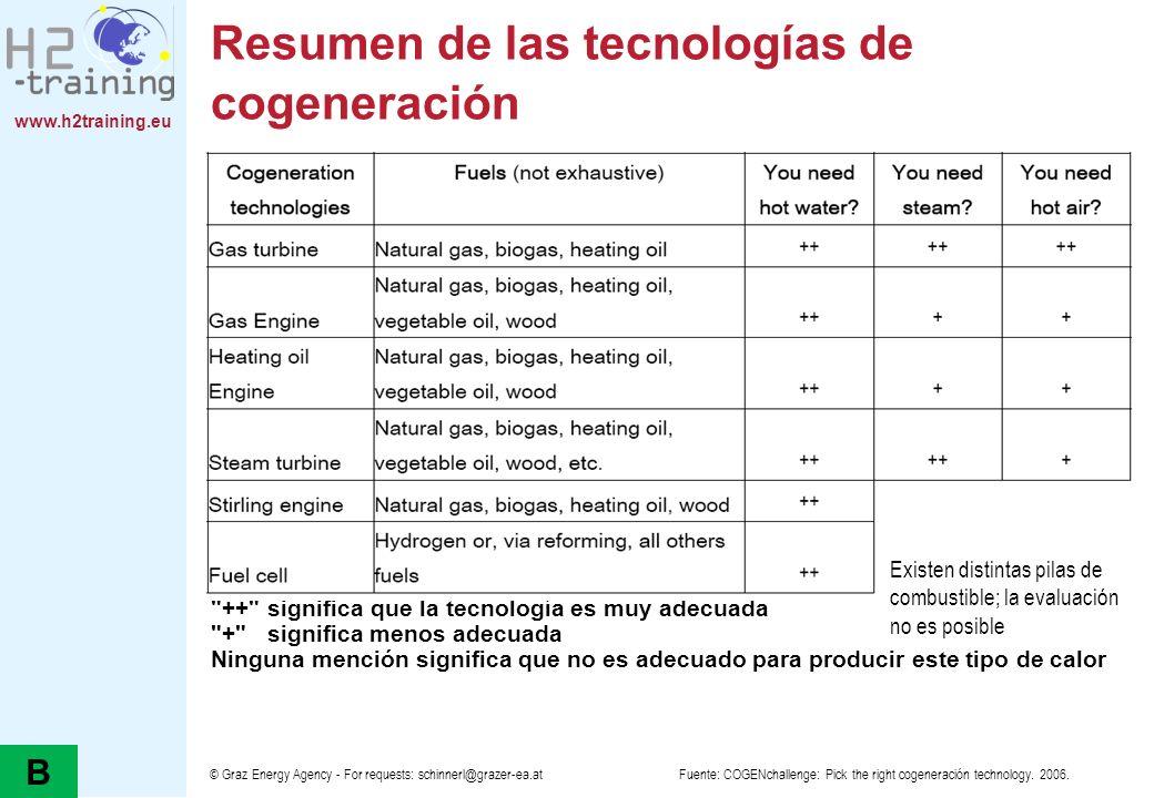 www.h2training.eu © Graz Energy Agency - For requests: schinnerl@grazer-ea.at Resumen de las tecnologías de cogeneración