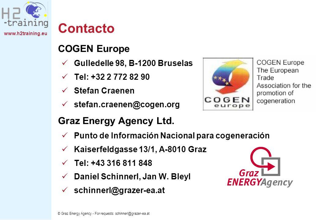 www.h2training.eu © Graz Energy Agency - For requests: schinnerl@grazer-ea.at Contacto COGEN Europe Gulledelle 98, B-1200 Bruselas Tel: +32 2 772 82 9
