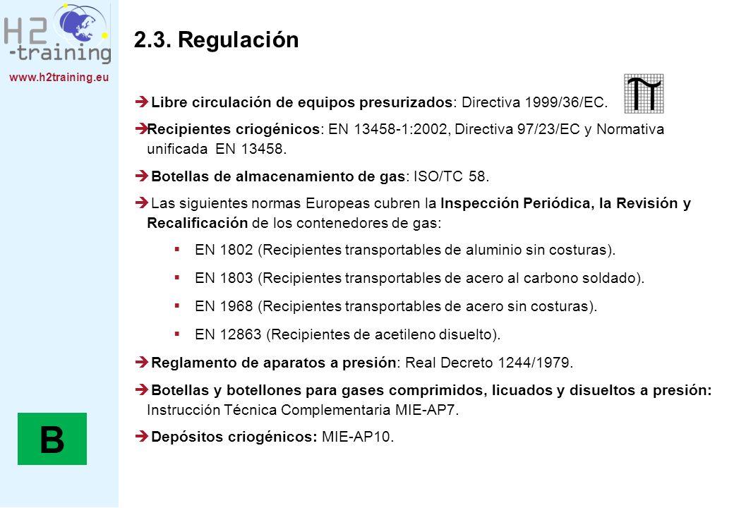 www.h2training.eu 2.3. Regulación Libre circulación de equipos presurizados: Directiva 1999/36/EC. Recipientes criogénicos: EN 13458-1:2002, Directiva
