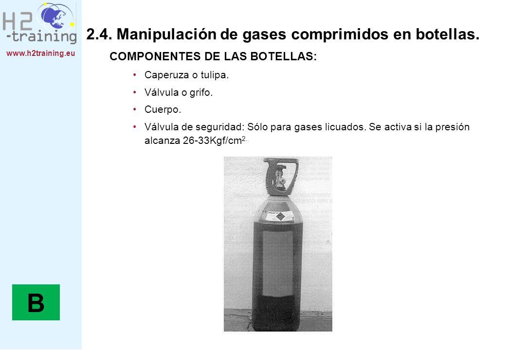 www.h2training.eu 2.4. Manipulación de gases comprimidos en botellas. COMPONENTES DE LAS BOTELLAS: Caperuza o tulipa. Válvula o grifo. Cuerpo. Válvula