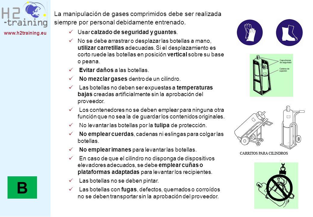 www.h2training.eu B La manipulación de gases comprimidos debe ser realizada siempre por personal debidamente entrenado. Usar calzado de seguridad y gu