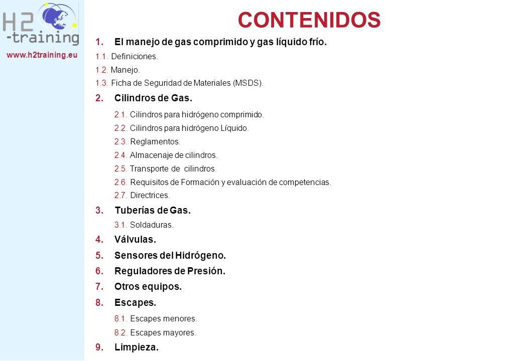 www.h2training.eu CONTENIDOS 1.El manejo de gas comprimido y gas líquido frío. 1.1. Definiciones. 1.2. Manejo. 1.3. Ficha de Seguridad de Materiales (