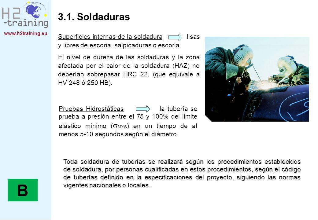www.h2training.eu 3.1. Soldaduras Superficies internas de la soldadura lisas y libres de escoria, salpicaduras o escoria. El nivel de dureza de las so