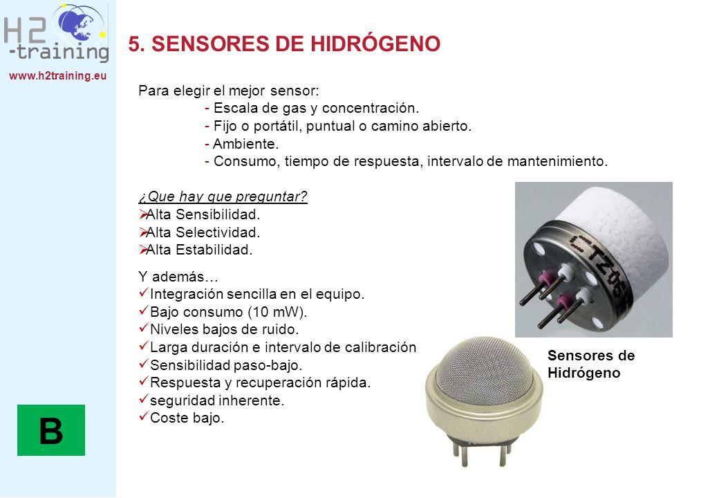 www.h2training.eu 5. SENSORES DE HIDRÓGENO Para elegir el mejor sensor: - Escala de gas y concentración. - Fijo o portátil, puntual o camino abierto.