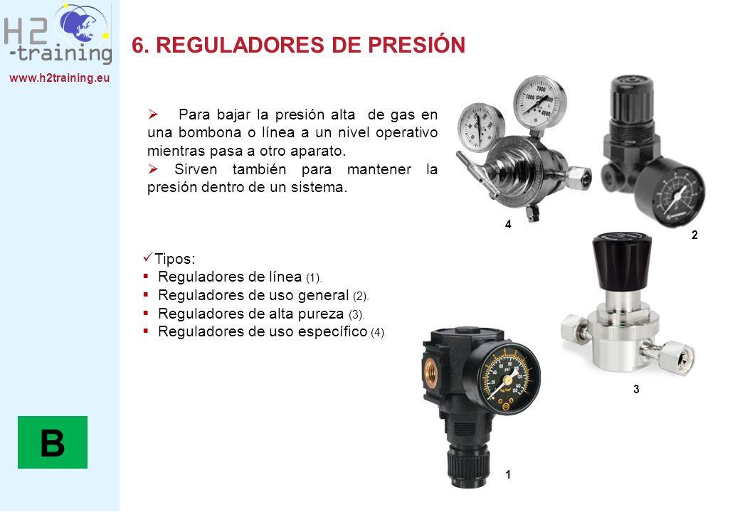 www.h2training.eu 6. REGULADORES DE PRESIÓN Tipos: Reguladores de línea (1). Reguladores de uso general (2). Reguladores de alta pureza (3). Regulador