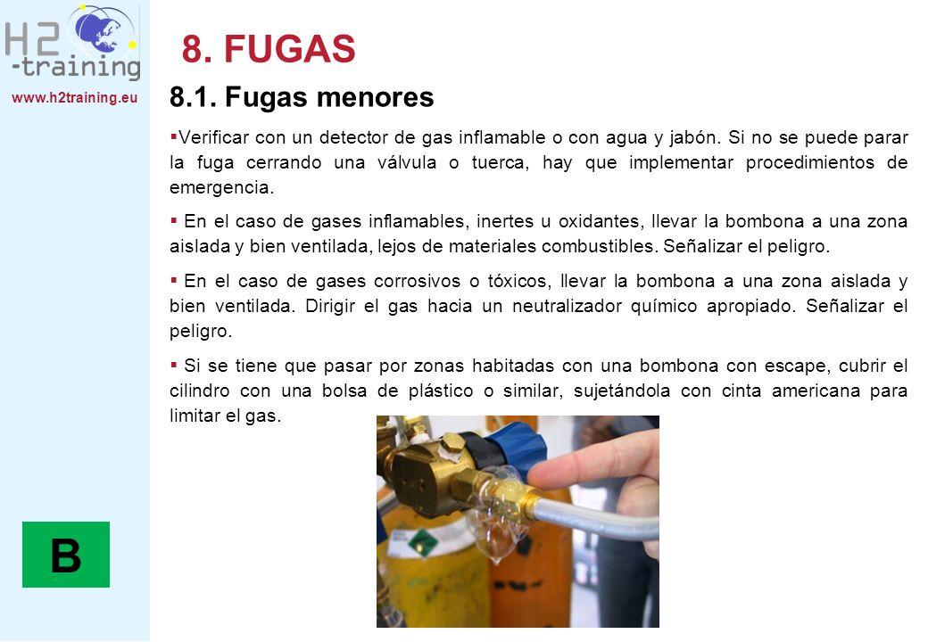 www.h2training.eu 8. FUGAS 8.1. Fugas menores Verificar con un detector de gas inflamable o con agua y jabón. Si no se puede parar la fuga cerrando un