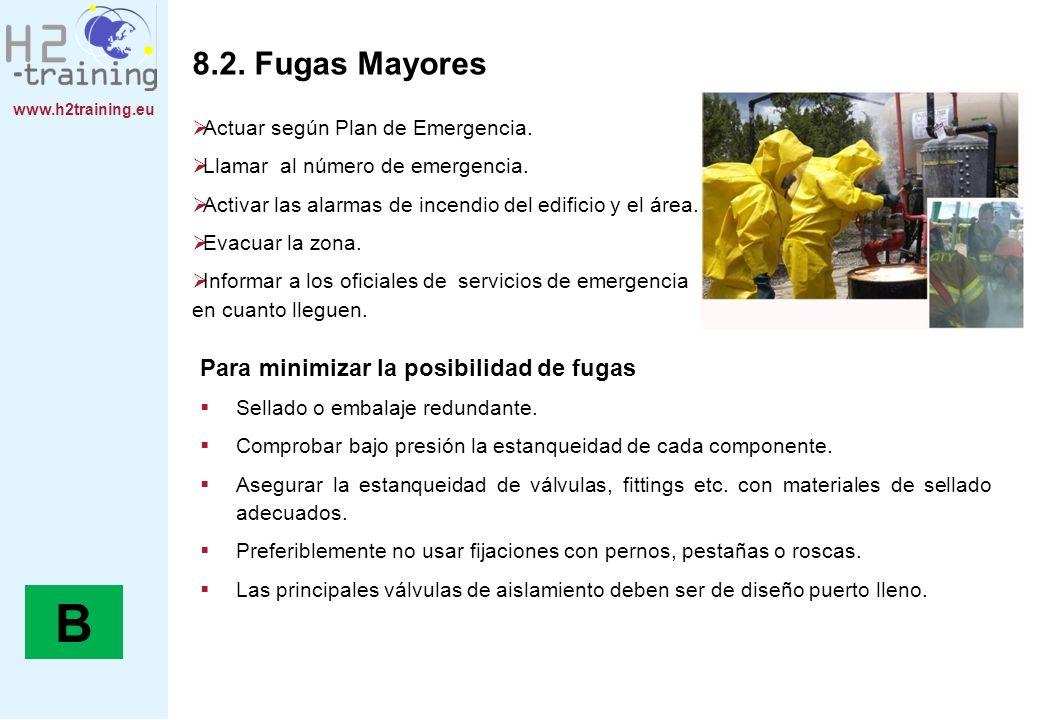 www.h2training.eu 8.2. Fugas Mayores Actuar según Plan de Emergencia. Llamar al número de emergencia. Activar las alarmas de incendio del edificio y e