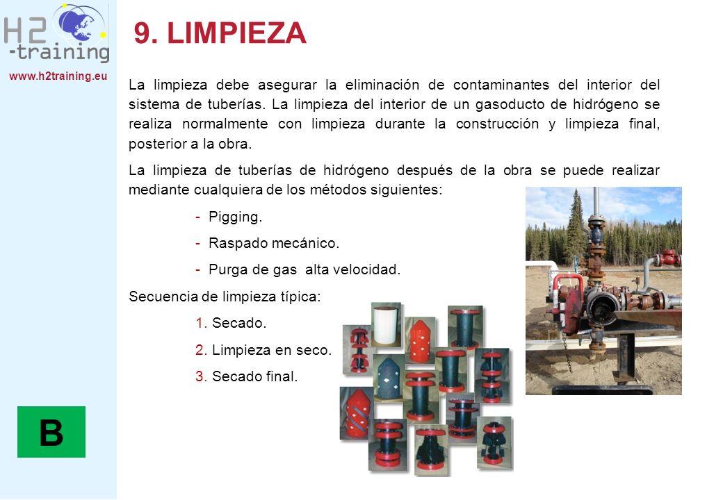www.h2training.eu 9. LIMPIEZA La limpieza debe asegurar la eliminación de contaminantes del interior del sistema de tuberías. La limpieza del interior