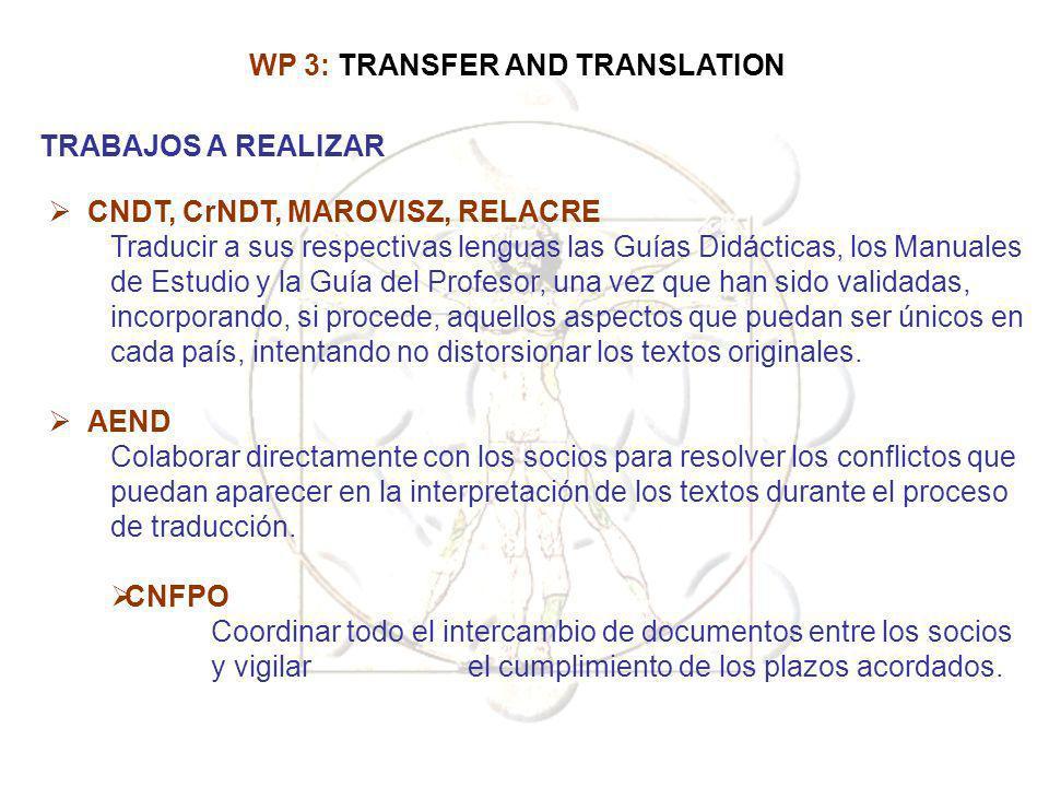 CNDT, CrNDT, MAROVISZ, RELACRE Traducir a sus respectivas lenguas las Guías Didácticas, los Manuales de Estudio y la Guía del Profesor, una vez que ha