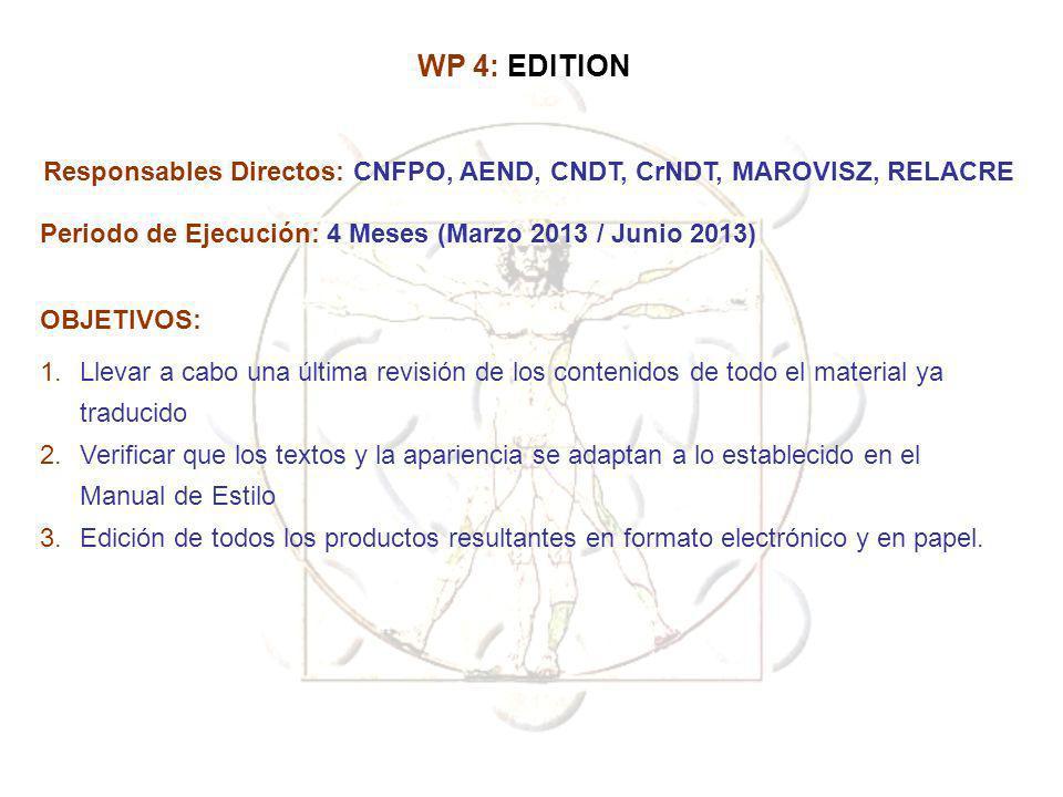Responsables Directos: CNFPO, AEND, CNDT, CrNDT, MAROVISZ, RELACRE Periodo de Ejecución: 4 Meses (Marzo 2013 / Junio 2013) OBJETIVOS: 1.Llevar a cabo