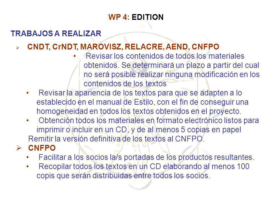 CNDT, CrNDT, MAROVISZ, RELACRE, AEND, CNFPO Revisar los contenidos de todos los materiales obtenidos. Se determinará un plazo a partir del cual no ser