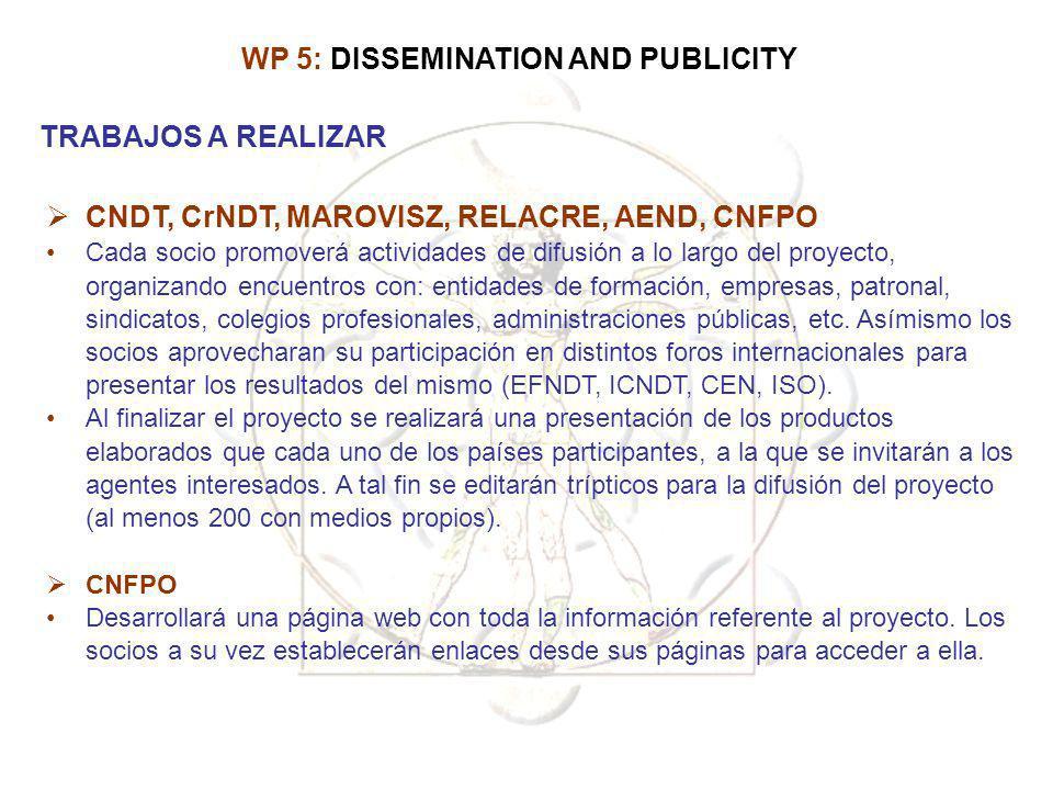 CNDT, CrNDT, MAROVISZ, RELACRE, AEND, CNFPO Cada socio promoverá actividades de difusión a lo largo del proyecto, organizando encuentros con: entidade