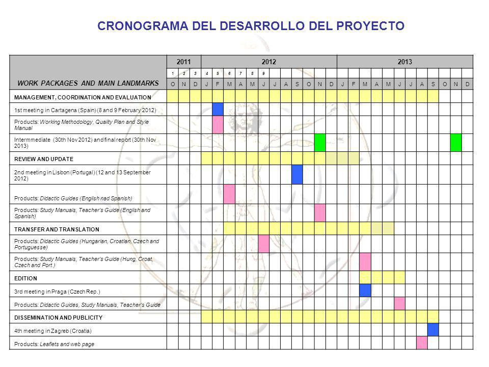 CRONOGRAMA DEL DESARROLLO DEL PROYECTO WORK PACKAGES AND MAIN LANDMARKS 201120122013 123456789 ONDJFMAMJJASONDJFMAMJJASOND MANAGEMENT, COORDINATION AN