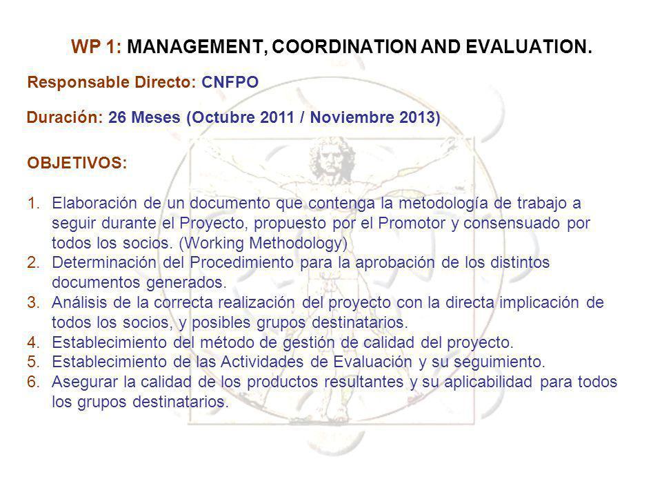 WP 1: MANAGEMENT, COORDINATION AND EVALUATION. Responsable Directo: CNFPO Duración: 26 Meses (Octubre 2011 / Noviembre 2013) OBJETIVOS: 1.Elaboración