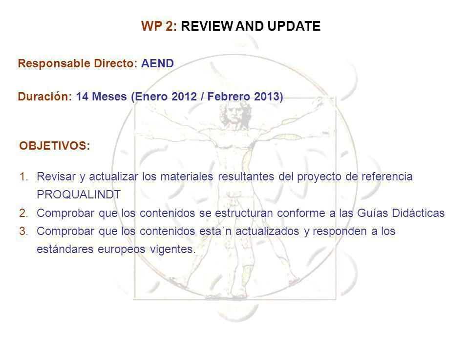 Responsable Directo: AEND Duración: 14 Meses (Enero 2012 / Febrero 2013) OBJETIVOS: 1.Revisar y actualizar los materiales resultantes del proyecto de