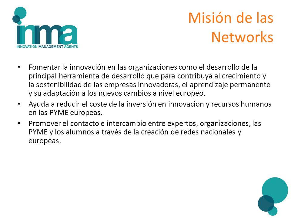Misión de las Networks Fomentar la innovación en las organizaciones como el desarrollo de la principal herramienta de desarrollo que para contribuya a