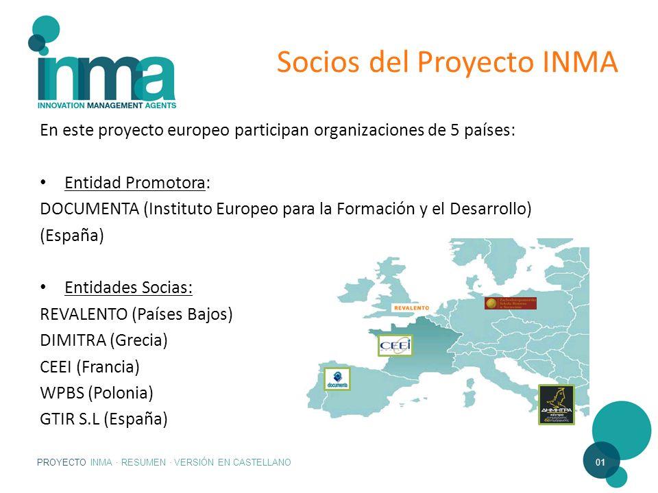 PROYECTO INMA · RESUMEN · VERSIÓN EN CASTELLANO01 Socios del Proyecto INMA En este proyecto europeo participan organizaciones de 5 países: Entidad Pro