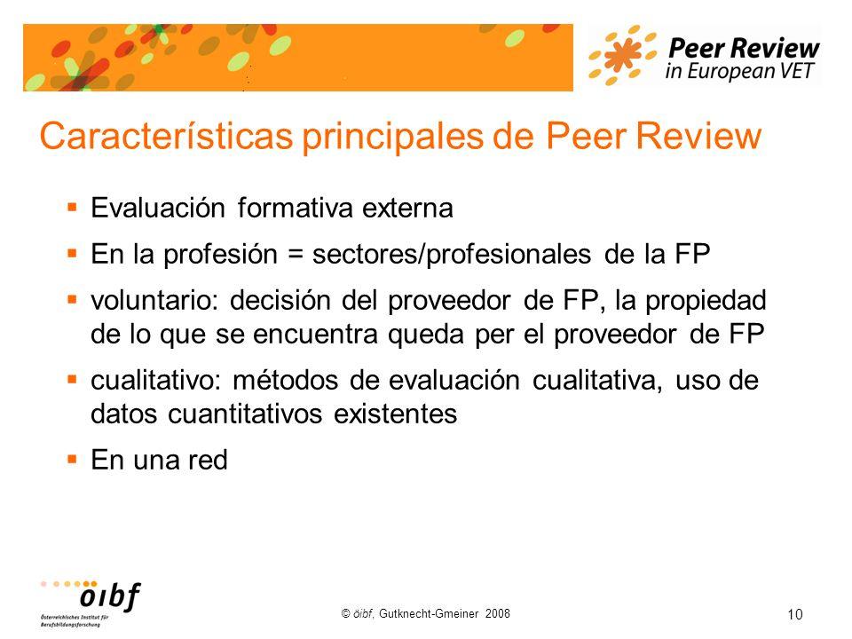 10 © öibf, Gutknecht-Gmeiner 2008 Características principales de Peer Review Evaluación formativa externa En la profesión = sectores/profesionales de la FP voluntario: decisión del proveedor de FP, la propiedad de lo que se encuentra queda per el proveedor de FP cualitativo: métodos de evaluación cualitativa, uso de datos cuantitativos existentes En una red