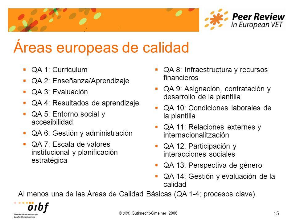 15 © öibf, Gutknecht-Gmeiner 2008 Áreas europeas de calidad QA 1: Curriculum QA 2: Enseñanza/Aprendizaje QA 3: Evaluación QA 4: Resultados de aprendizaje QA 5: Entorno social y accesibilidad QA 6: Gestión y administración QA 7: Escala de valores institucional y planificación estratégica QA 8: Infraestructura y recursos financieros QA 9: Asignación, contratación y desarrollo de la plantilla QA 10: Condiciones laborales de la plantilla QA 11: Relaciones externes y internacionalitzación QA 12: Participación y interacciones sociales QA 13: Perspectiva de género QA 14: Gestión y evaluación de la calidad Al menos una de las Áreas de Calidad Básicas (QA 1-4; procesos clave).