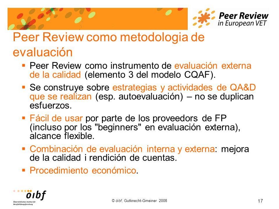 17 © öibf, Gutknecht-Gmeiner 2008 Peer Review como metodologia de evaluación Peer Review como instrumento de evaluación externa de la calidad (elemento 3 del modelo CQAF).