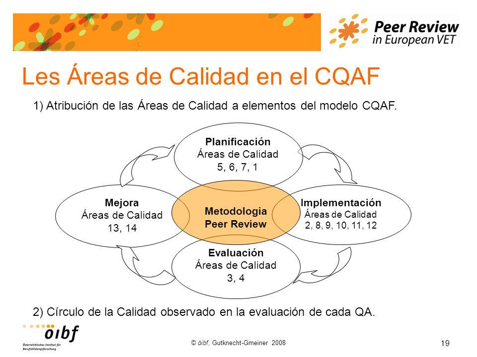 19 © öibf, Gutknecht-Gmeiner 2008 Les Áreas de Calidad en el CQAF Implementación Áreas de Calidad 2, 8, 9, 10, 11, 12 Mejora Áreas de Calidad 13, 14 Evaluación Áreas de Calidad 3, 4 Planificación Áreas de Calidad 5, 6, 7, 1 Metodologia Peer Review 2) Círculo de la Calidad observado en la evaluación de cada QA.