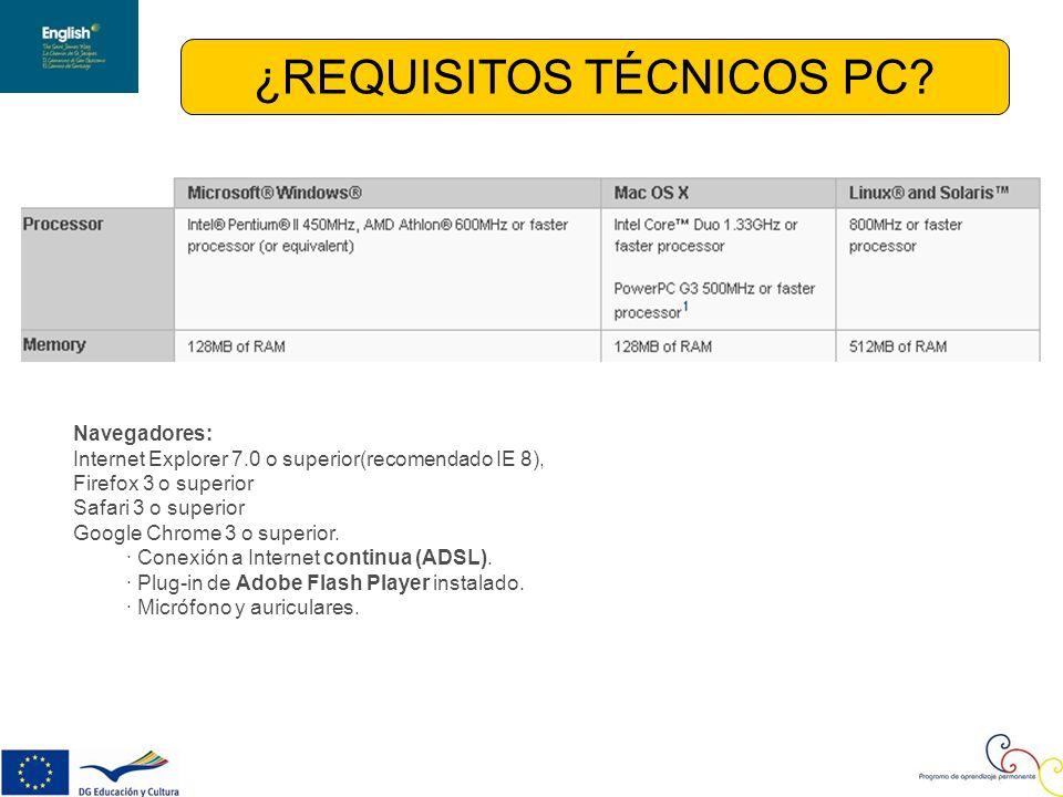 ¿REQUISITOS TÉCNICOS PC.
