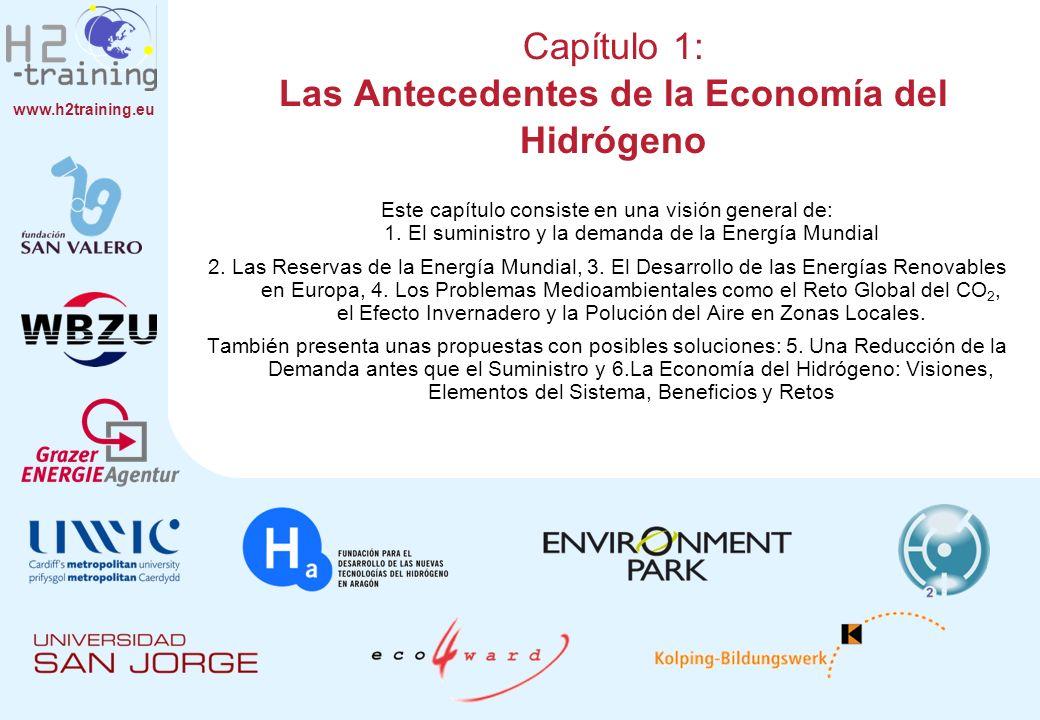 www.h2training.eu Capítulo 1: Las Antecedentes de la Economía del Hidrógeno Este capítulo consiste en una visión general de: 1. El suministro y la dem
